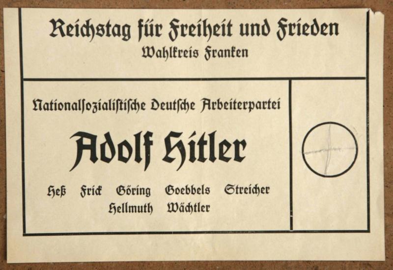 Stimmzettel von 1933 mit Adolf Hitler als Kandidat (Foto: picture alliance)